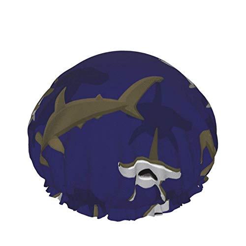 Style04 - Gorro de ducha de doble capa, diseño de flores silvestres con amapola de aciano, color amapola, fondo de manzanilla, reutilizable, impermeable, elástico para todas las longitudes de cabello