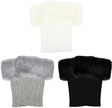 3 Pairs Women Faux Fur Trim Boot Cuff Winter Knitted Furry Top Cover Leg Warmers Girls Boot product image