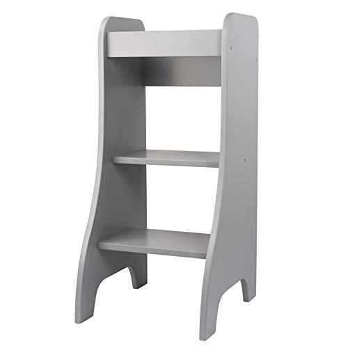 Puckdaddy Torre descubridora Turmine 43x50x94 cm, trona de madera en color gris, trona infantil como taburete, torre de aprendizaje de 1 a 4 años