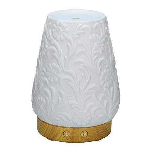 AromAngel 120mL Aromatherapy Essential Oil Diffuser with 14-Color LED Night Light (White Floral Ceramic)