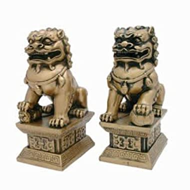 Golden 6 Inch Fu Dogs – Bring Luck and Protection to Home or Office - Great Gift!