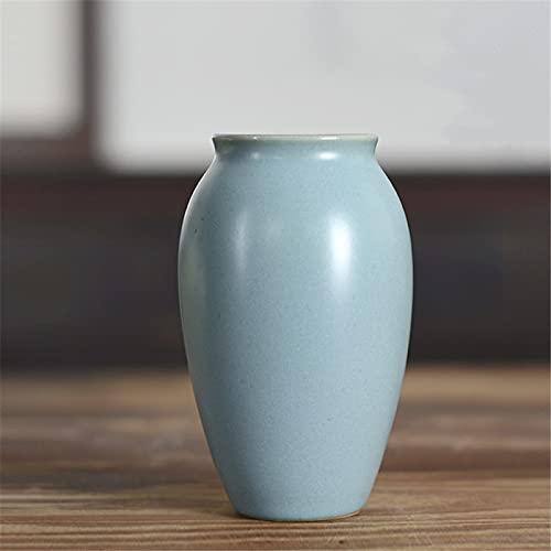 RZHIXR Jarrón de cerámica Azul Simple de Estilo Chino, decoración del hogar de contenedor de Maceta de Flores, Adecuado para Sala de Estar, Cocina, Oficina en casa, florero de cerámica Antides