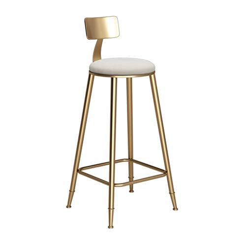 ZRXian-Tabourets Tabouret De Bar Chaise De Cuisine Tabouret Café Restaurant Chaise Haute en Fer Forgé Design Dossier - Coussin Blanc (Hauteur De L'assise: 45-85CM) (Taille : 60 cm)