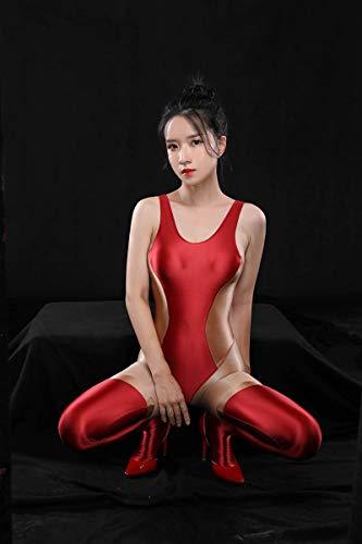 fixiyue Sexy Traje de bao de Agua Muerta luchando contra el Color con un Traje de Amor de Aceite de Piel Sedoso Brillante Cdigo Medio 1849 Rojo