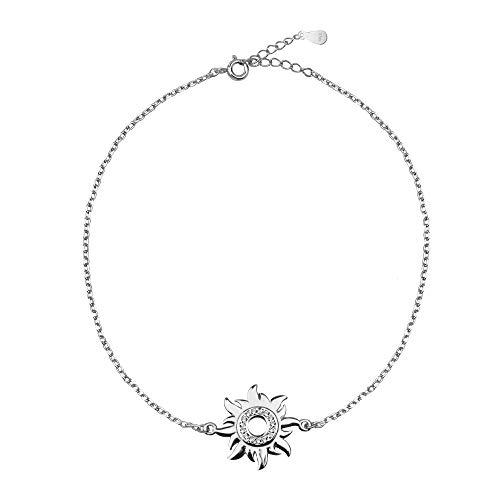 SOFIA MILANI - Pulsera para Mujeres en Plata de Ley 925 - con Circonitas - Colgante Estrella Sol - 30213