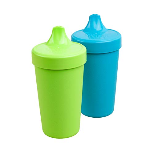 Re-Play MADE IN USA 2pk Toddler Feeding No Spill Sippy Cups | 1 Piece Silicone Easy Clean Valve | Eco Friendly Heavyweight Recycled Milk Jugs are Virtually Indestructible | Lime Green, Sky Blue