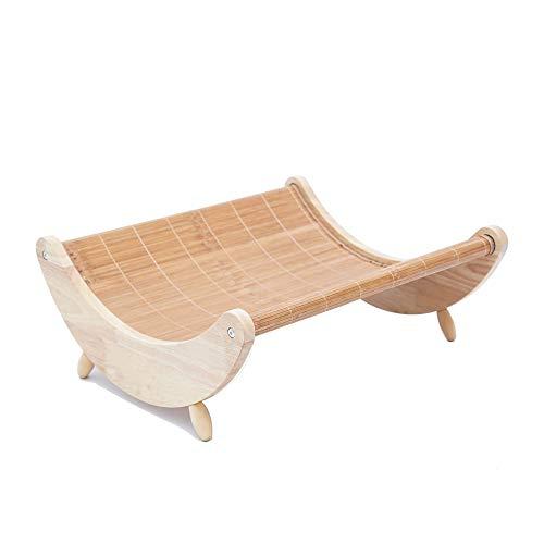 GXHGRASS, 2-in-1 hangmat, voor de zomer, mat, multifunctioneel, kat, hiarchie van het huisdier, schommelstoel, hangmat, massief houten materiaal, vier afneembare poten