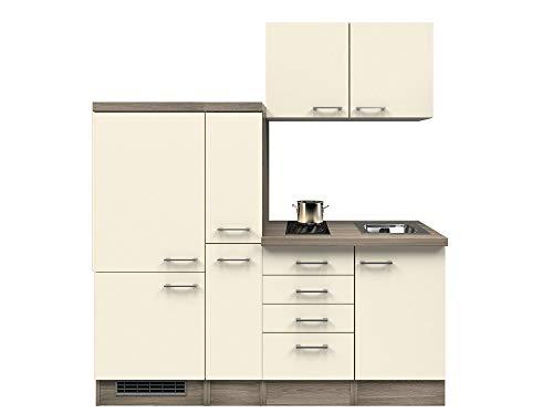 Smart Möbel Küchenzeile 190 cm Magnolie/Tennessee Eiche mit Kochfeld, Kühlschrank - Magnolia