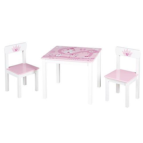 Conjunto de asientos roba 'Corona', Conjunto de muebles infantiles compuesto por dos sillas y una mesa de juegos, decoraciones con Princesas, Palacios y otros complementos en rosa.