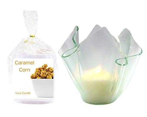 Caramel Corn Clear Satin Vase | 2 Premium Soy Paraffin Wax Blend Candle Refills | 100 Hour Total Burn Time | Highly Scented | Self-Trimming Wick | Fresh Poured