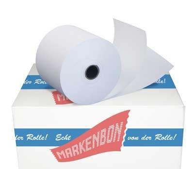 Normalpapierrollen zweilagig für Olympia CM 70 - weiß/weiß - [25m] (50 Rollen)- markenbon