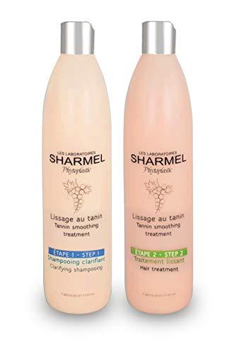 Kit Lissage au Tanin - Sharmel - 2 x 500ml - Sans Formol - Enrichi en Polyphénol - Made...