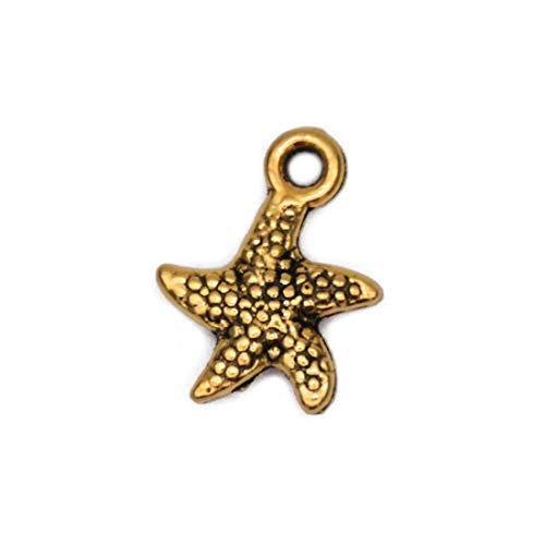 Pack of 80 Starfish Charms Pendants Gold Craft Supplies for Jewelry Making Tibetan Accessories for Bracelets Necklace DIY