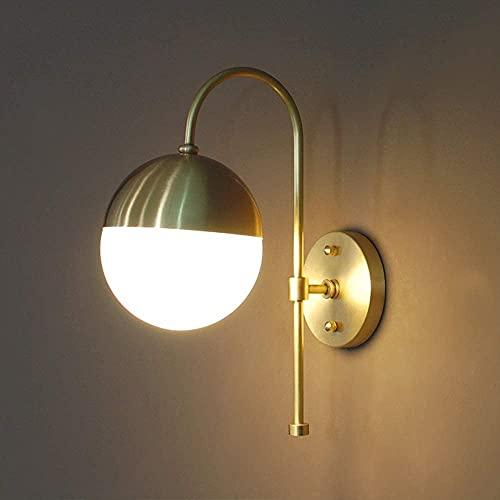 MUZIDP Aplique de pared Lámpara de pared Full cobre Lámpara de pared Europea Sala de estar Lámpara de pared Dormitorio Lámpara de cabecera corredor pasillo baño espejo lámpara de pared delantera