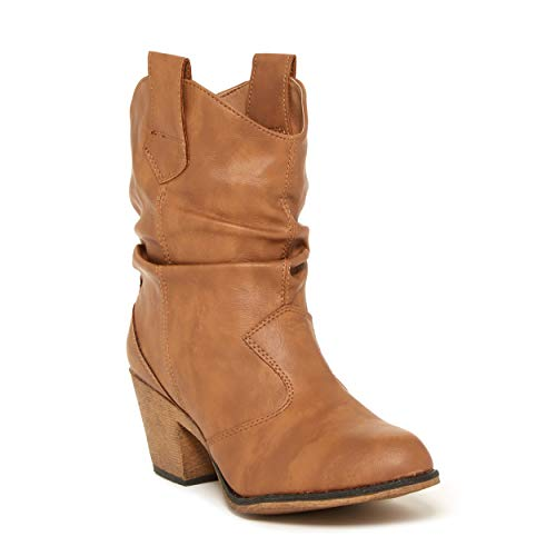 Charles Albert Women's Modern Western Cowboy Distressed Boot with Pull-Up Tabs in Tan Size: 9