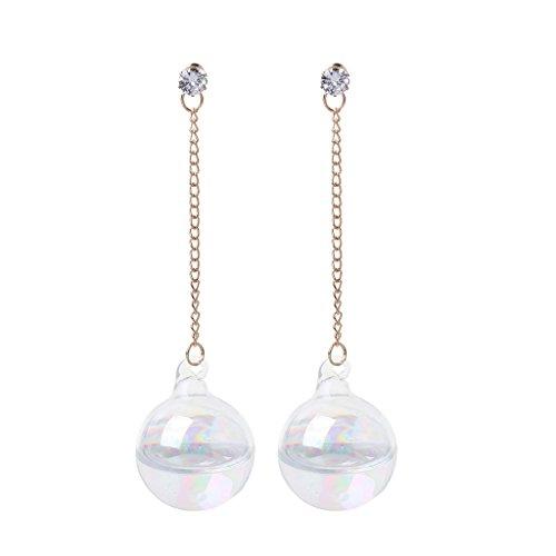 BLEUNUIT Pendientes de Cristal Transparente, Pendientes de Gota de Agua en el Interior de Agua de Cristal Transparente AB Brillante para Mujer-A