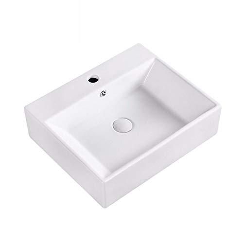 LYM Moderne rechthoekige vorm wastafel keramiek wit garderobe wastafel (zonder kraan) -51,5 x 42 x 15 cm