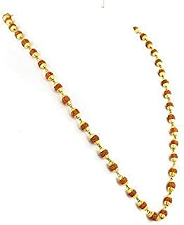 Inaaya Gold Plated Rudraksh Mala for Men and Women, Fashionable Gold Plated Rudraksh Mala, Pack of 1