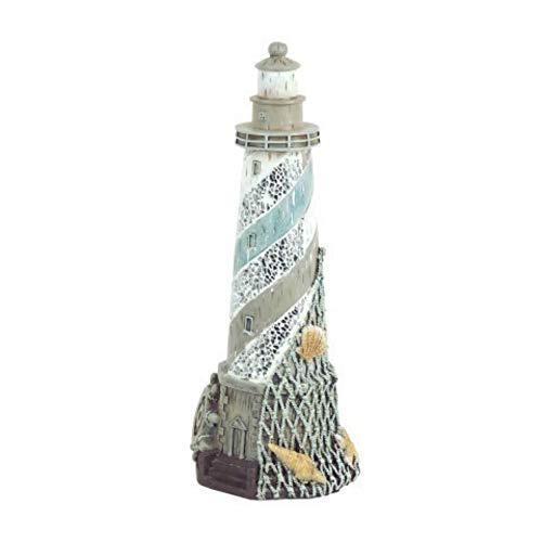CAPRILO Figura Decorativa Marinera de Resina Faro Adornos y Esculturas. Decoración Hogar. Regalos Originales. 27 x 11 x 11 cm.