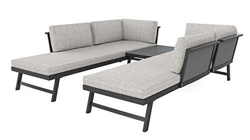 ARTELIA Morino Loungemöbel Set 5 Personen - Modulares Premium Gartenmöbel Set für Terrasse, Garten und Wintergarten, Terrassenmöbel Anthrazit