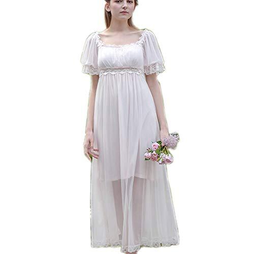 Damen-Nachthemd mit Spitze, Vintage-Stil, viktorianisches Prinzessinnen-Nachthemd, Chemises, Babydoll, Pyjama, Liege, Nachtwäsche - Weiß - Small