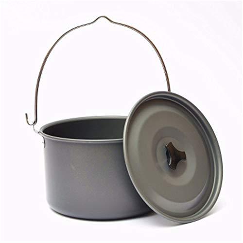 HNJZX Campingtöpfe Cooking Cookware Kochtopf mit Deckel für Outdoor Reise Koch Geschirr Wandern Bergsteigen Picknick (Groß für 5-8 Personen)