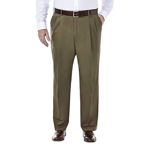 Haggar mens Big & Tall Premium No Iron Heather Classic Fit Expandable Waist Plain Front dress pants, Toast, 50W x 29L US