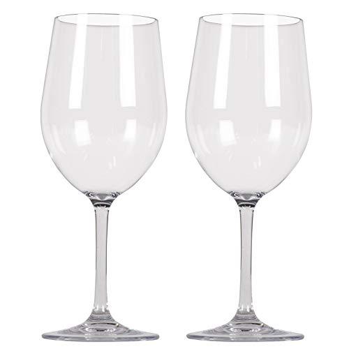 Polycarbonat Gläser 2 Personen Camping Küche glasklar Kunststoff Weinglas Trinkglas Trinkbecher Weißwein Rotwein Glas Becher Camping Picknick Geschirr Elegantes Design bruchfest Weinkelch 2 x 350ml
