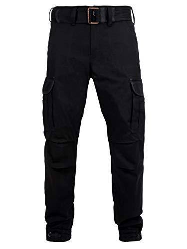 John Doe Regular Cargo - Schwarz | Motorradhose mit Kevlar | Einsetzbare Protektoren | Atmungsaktiv | Motorrad Cargo Hose | Hose mit Seitentaschen