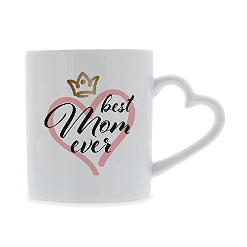 stempel-fabrik Keramiktasse mit Herzhenkel Aufdruck - Best Mom Ever - Muttertagsgeschenk - Kaffeetasse mit Spruch - Muttertag Tasse - Teetasse - Geschenkidee - Kaffeebecher - Geburtstagsgeschenk