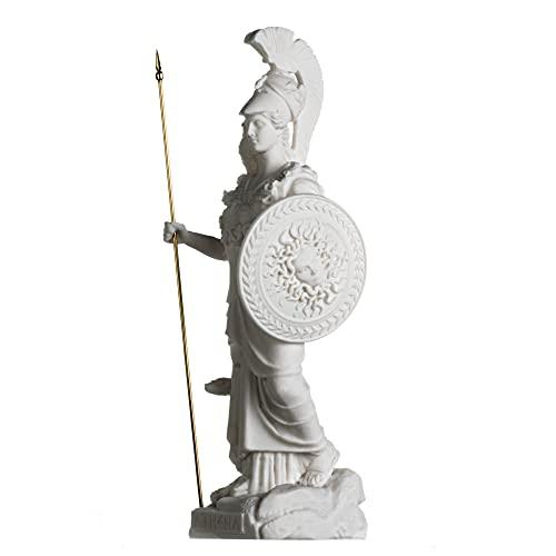 Athena con búho Medusa Holding Shield Greek Diosa Alabastro Estatua 14.56 pulgadas