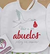 Babero personalizado con frases bonitas para bebes, Regalo original para bebe. (12 Modelos a elegir) (Vais a ser abuelos estoy de camino)