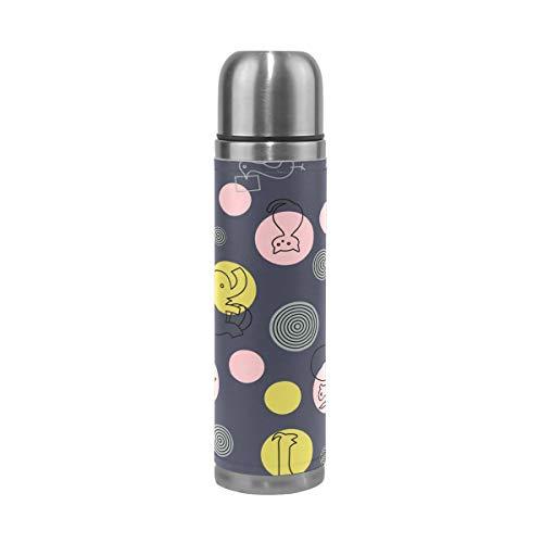 FANTAZIO Vacuum Flask Thermos Eenvoudige Animal Tekening Thermos Fles voor hete Vloeistoffen