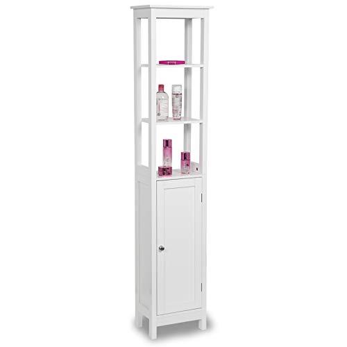 EUGAD Badschrank Hochschrank Badezimmerschrank Badkommode Badregal Eckschrank Medizinschrank Holz weiß 33x23x160 cm