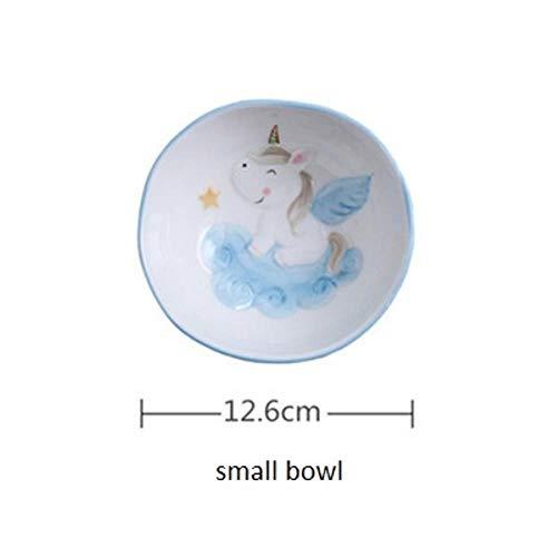 VLOU - Set di ciotole per bambini, motivo: unicorno, colore: Rosa e Blu Ciotola piccola blu.