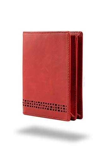 Ed Hicks pera Mens Wallet - Cartera para Hombre, Vintage Red with Black Detailing (Rojo) - Eh-WL-pera-RD/BK