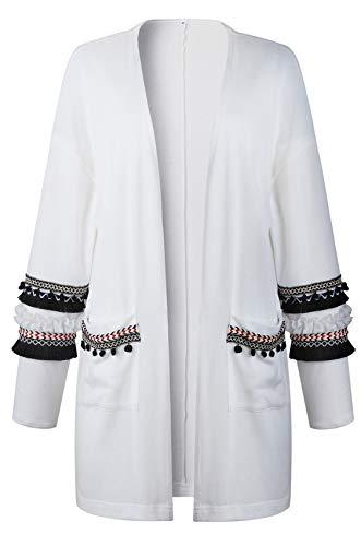 SZIVYSHI a Maniche Lunghe Fondo a Volant Barocco Etnico Tribal Africano Azteca Geometrica Cardigan Sweater Maglione Maglia Coat Cappotto Superiore Top Bianco M