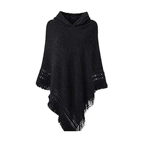 JIACUO Mujer Invierno Punto Poncho con Capucha Capa Crochet Flecos Borla Chal Abrigo Suéter