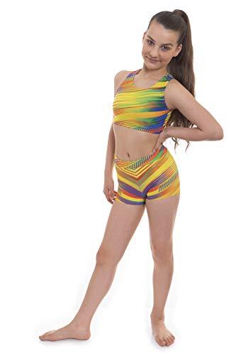 Samba Velocity Pro Sport Crop top et short pour filles Idéal pour la gym, l'entraînement, la course, l'été, la gymnastique, le yoga (Samba, 7-8 ans)