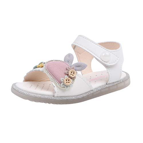 Julhold Zapatos de playa para bebés y niñas, sandalias de playa para niños pequeños, lindos y suaves, princesas, zapatos planos, color Beige, talla 23 EU