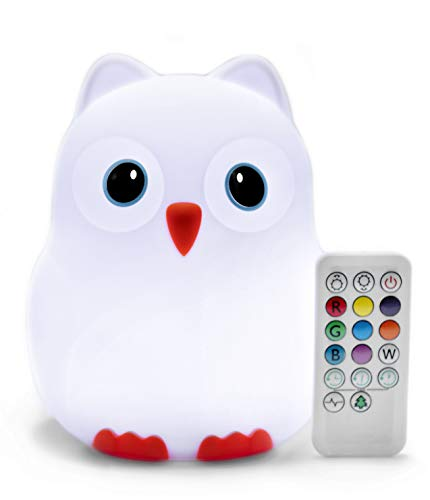 Goodnight Owl Rechargeable Night Light for Kids & Toddlers - Multi-Color LEDs (9 Colors!), Remote Control, BPA-Free Silicone, 9 Levels of Brightness, Auto-Off Timer. Super Cute and Fun!