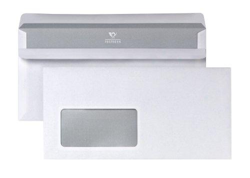 Bong 2220617 Posthorn - Buste da lettera in formato DIN lungo, con finestra, chiusura autoadesiva, interno grigio con stampa, 110 x 220 mm, 100 pezzi, colore bianco