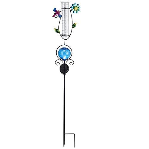 Lampe solaire pluviomètre décoratif bleu acier inoxydable éclairage jardin météo IP44 capteur lampe de jardin lanterne capteur crépusculaire