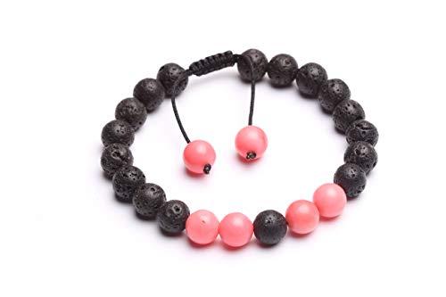 BONLISONS Cuerda Trenzada Coral Rosa + Pulsera de Lava para Mujeres y Hombres Pulsera de Cuentas de Equilibrio curativo Reiki Ajustable