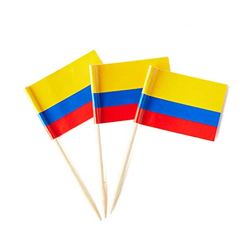 Mflagperft Colombia Flag Colombian Small Toothpick Mini Stick Flags Decorations (100 Pack)