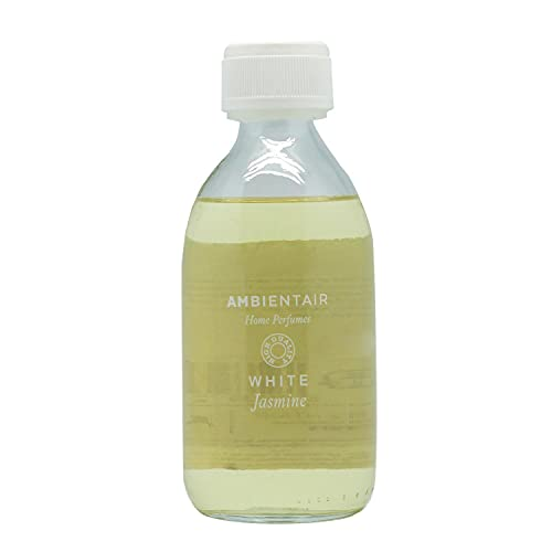 Ambientair Home Perfumes. Recambio para ambientador 250ml. White Jasmine. Recambio para difusor de varillas. Líquido para rellenar tu ambientador Mikado de palitos. Sin alcohol.