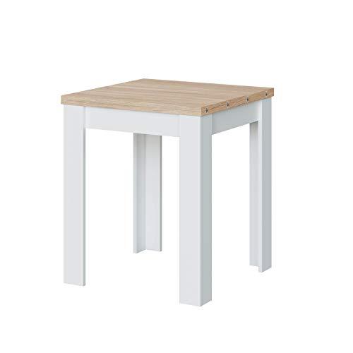 Habitdesign Mesa Auxiliar Extensible, Mesa Cocina, Acabado en Color Blanco Artik y Roble Canadian, Modelo Livre, Medidas: 67-134 cm (Ancho) x 67 cm (Fondo) x 79 cm (Alto)