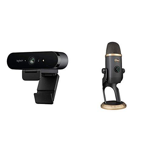 Logitech Brio Stream Webcam, 4K Ultra-HD 1080p, Weites anpassbares Blickfeld, USB-Anschluss, Abdeckblende + Blue Yeti USB Mikrofon mit VO!CE Effekten, einschließlich Voice-Modulation