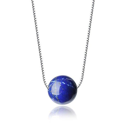 COAI® Collar con Colgante de Cuenta de Pidra Natural Lapislázuli Cadena de 925 Plata Plateada de Platino