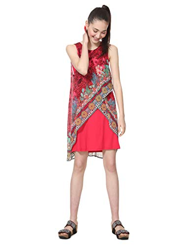 Desigual Damen Kleid Dress Sleeveless Monique Woman RED, Rot (Carmin 3000), 44 (Herstellergröße: 46 EU)